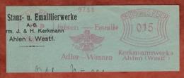Ausschnitt, Absenderfreistempel, Adler-Wannen Kerkmannwerke, 15 Rpf, Ahlen 1929 (81763) - Marcophilie - EMA (Empreintes Machines)