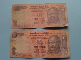 10 ( Ten ) RUPEES : 00L 286241 & 36U 164738 ( Reserve Bank Of India ) ! - Inde