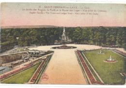 23 St-GERMAIN-en-LAYE . LA GARE (+ Nombreux Trains ) LE JARDIN DES ANGLAIS . CARTE COLORISEE AFFR AU VERSO . 2 SCANES - St. Germain En Laye (Kasteel)