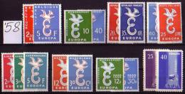 EUROPA-CEPT - 1958 - Anne Complet - 8 Pays 17 Tim. - 36 Eu - Europa-CEPT