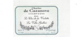 ETIQUETTE  CHAMPAGNE  CHARLES DE CAZANOVE LE CLOS DE LA VIOLETTE EPERNAY  ****  RARE  A  SAISIR  ***** - Champagne
