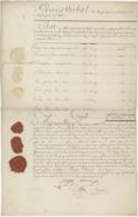 Procès Verbal De Changement Au Bureau De La Messagerie à Belfort 1793 Assignats Trois Beaux Cachets De Cire - Documenti Storici