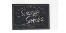 ETIQUETTE  CHAMPAGNE  SACREE SOIREE  PAR GAETAN BILLIARD  A REIMS ****  RARE  A  SAISIR  ***** - Champagne
