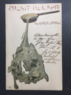Art Nouveau - M. Raschka (Raphael Kirchner) - B.K.W.I. - Embossed Silver - Kirchner, Raphael