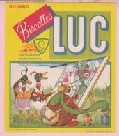 Buvard Biscottes LUC Chateauroux  La Fontaine Fable La Tortue Et Les 2 Canards    19 - Biscottes