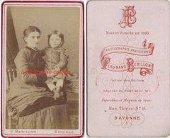 CDV  Portrait De Femme Avec Enfant-photo Ferdinand Berillon à Bayonne - Fotos