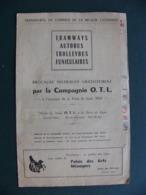 Brochure Compagnie O.T.L Lyon Tramways Autobus Trolleybus Funiculaires Foire 1952 Chemin De Fer Vaugneray - Europa