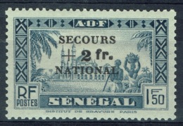 """Senegal (French Colony), +2f/1f50 """"SECOURS NATIONAL"""", 1941, MH VF - Senegal (1887-1944)"""