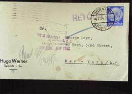 """DR: A-Brf Mit 25 Pf Hindenburg -portogenau- OSt. Sebnitz (Sachs) 4.7.34 Nach New York Mit """"Zurück""""-Vermerk Knr: 522 - Briefe U. Dokumente"""
