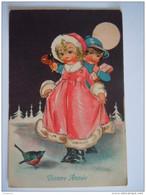 Bonne Année Enfants Lune Kinderen Maan  Circulée Gelopen 1933 Ensival A Import 3739 - Nieuwjaar