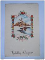 Gelukkig Nieuwjaar Winter Landschap Molen Moulin Bloemen Guirlande Fleurs Paysage Hivernal Gelopen 1950 België - Nouvel An