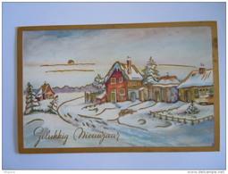 Gelukkig Nieuwjaar Winter Landschap Dorp Gouddruk Dorée Paysage Hivernal Village Gelopen 1958 Essen - Año Nuevo