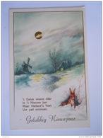 Gelukkig Nieuwjaar Winter Landschap Molen Konijn Gouddruk Dorée Paysage Hivernal Moulin Lapin Gelopen Lier 1964 - Nouvel An