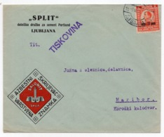 1920s YUGOSLAVIA, SLOVENIA, LJUBLJANA TO MARIBOR, COMPANY HEAD COVER, SPLIT, CEMENT PORTLAND, ASBESTOS SLATE - 1919-1929 Royaume Des Serbes, Croates & Slovènes