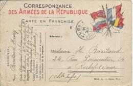 France Carte En Franchise Militaire Correspondance Des Armees De La Republique  1914 Rochefort - Marcofilie (Brieven)