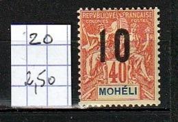 MOHÉLI - 1912 - N° YT 20 - Neuf * - Moheli (1906-1912)