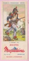 Buvard Biscottes MAGDELEINE Infanterie 1793 19 - Biscottes