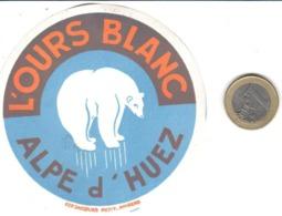 ETIQUETA DE HOTEL  -   L'OURS BLANC  -ALPE D'HUEZ  -FRANCIA - Hotel Labels
