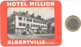 ETIQUETA DE HOTEL  -   HOTEL MILLION  -ALBERTVILLE  -FRANCIA - Hotel Labels