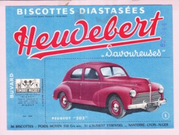 Buvard Biscottes HEUDEBERT Voiture Peugeot 203 19 - Biscottes