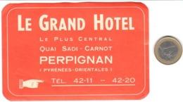 ETIQUETA DE HOTEL  -  LE GRAND HOTEL  -PERPIGNAN  -FRANCIA - Etiquetas De Hotel
