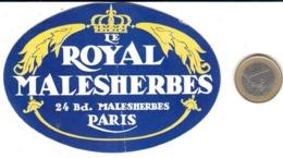 ETIQUETA DE HOTEL  - LE ROYAL MALESHERBES  -PARIS - Adesivi Di Alberghi