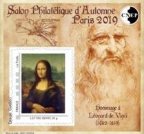 CNEP N°  82 De 2019 - Bloc Autoadhésif - Léonard De Vinci - La Joconde - CNEP