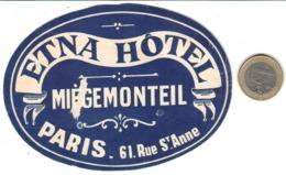 ETIQUETA DE HOTEL  - ETNA HÔTEL  -PARIS - Etiquetas De Hotel