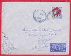 Republique Malgache Cachet  Année 1960 ; Obitération Diégo Suarez.Sur Lettre  N°337 Seul Pour Nancy - Madagascar (1889-1960)