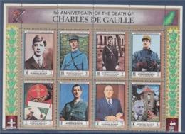 = Anniversaire De La Mort Du Général De Gaulle Bloc De 8 Timbres Neufs Ajman State - De Gaulle (General)
