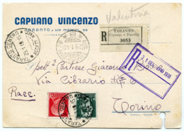 ITALY : TARANTO - CAPUANO VINCENZO - REGISTERED MAIL TO TORINO, 1940 - 1900-44 Victor Emmanuel III.