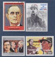 = Hommage Au Général De Gaulle 4 Timbres Guinée, Comores, Ajman Et TAAF - De Gaulle (General)