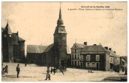 72 - Circuit De La Sarthe 1906 - Vieux Château Et Eglise En Traversant Bouloire - Bouloire