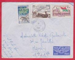 Republique Malgache Cachet ; Obitération 1959 Diégo Suarez.Sur Lettre N° 327 ; 332 ; 338 Pour Nancy - Madagascar (1889-1960)