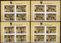 Tajikistan 2009 Set 4 BLOCKS Of 4 V IMPERFORATED Deer Cervus Elaphus Bactrianus - Stamps