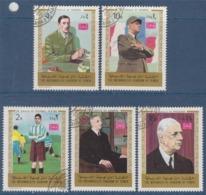 = Hommage Au Général De Gaulle 5 Timbres Oblitérés The Mutawakelite Kingdom Of Yémen - De Gaulle (General)