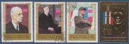= Hommage Au Général De Gaulle 3 Timbres Oblitérés The Mutawakelite Kingdom Of Yémen Et 1 République Centrafricaine Neuf - De Gaulle (General)