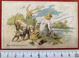 CHOCOLAT DE L'UNIVERS LYON CACAO CHROMO CHOCOLATIER 1880 IMAGE PÊCHEUR PUBLICITÉ ILLUSTRATEUR 1900 - Altri