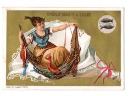 Chromo Imp. Appel, 3-1-42, Femme Dans Bouquet Avec Animaux Du Zodiaque, Chocolat Debauve & Gallais - Chocolate