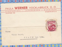 Austria On Cover - 1948? - Austrian Female Costumes 30g, Salzburg, Pongau Vocklabruck - 1945-.... 2. Republik
