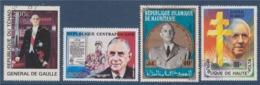 = Hommage Au Général De Gaulle 3 Timbres Oblitérés 1 Tchad 1 Mauritanie 1 Haute Volta & 1 Neuf République Centrafricaine - De Gaulle (General)