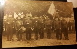 Rare Carte Photo Sapeurs Pompiers  De Moréac Avec Leur Drapeau Commemoration - France
