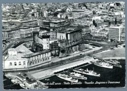 °°° Cartolina - Napoli Dall'aereo Molo Beverello Maschio Angioino E Panorama Viaggiata °°° - Napoli