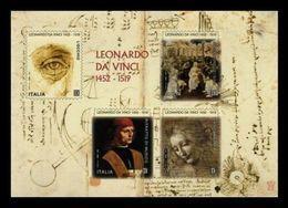 ITALIA  2019 - Leonardo Da Vinci, Nel V Centenario Della Scomparsa - Foglietto Grande Adesivo - 1946-.. République