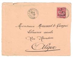 """1906 - DEVANT De LETTRE Avec CACHET """" TRESOR ET POSTES 68 """" OBLITERATION Sur TIMBRE MOUCHON SURCHARGÉ 10 CENTIMOS MAROC - Morocco (1891-1956)"""