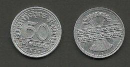 Deutschland 1921 Weimarer Republik 50 Pfennig 1921 F - [ 3] 1918-1933: Weimarer Republik