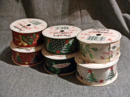 6 Rouleaux Ruban Motifs Noel Fetes Etat Neuf - Schmuck Und Dekor