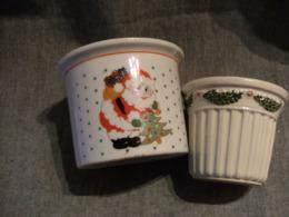 2 Pots Decoratifs Fetes - Noel -- Ceramique - Kerstversiering