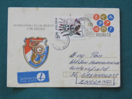 Poland 1981 Stationery Postcard To England - Sports - Mermaid - Plant Flowers - 1944-.... Republic