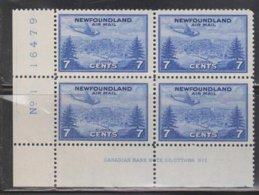 NEWFOUNDLAND Scott # C19 MNH Plate Block Of 4 - Airplane Over St Johns - 1908-1947